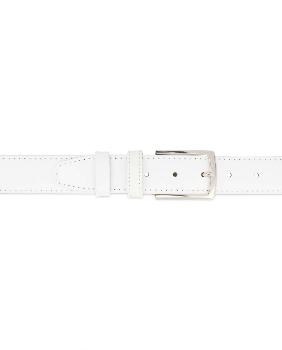 Mens-White-Belt-Genuine-Leather-1-3-8-inch-On-jeans