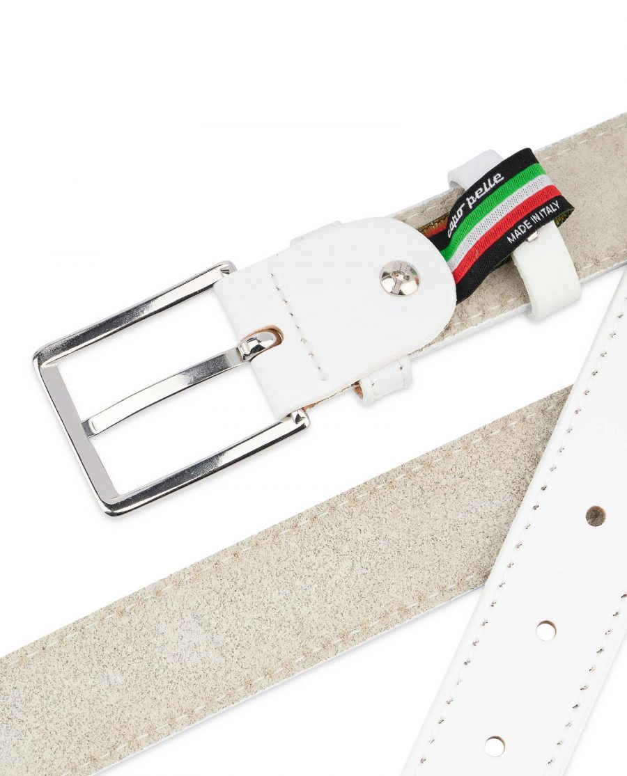 Mens-White-Leather-Belt-With-buckle-1-1-8-inch