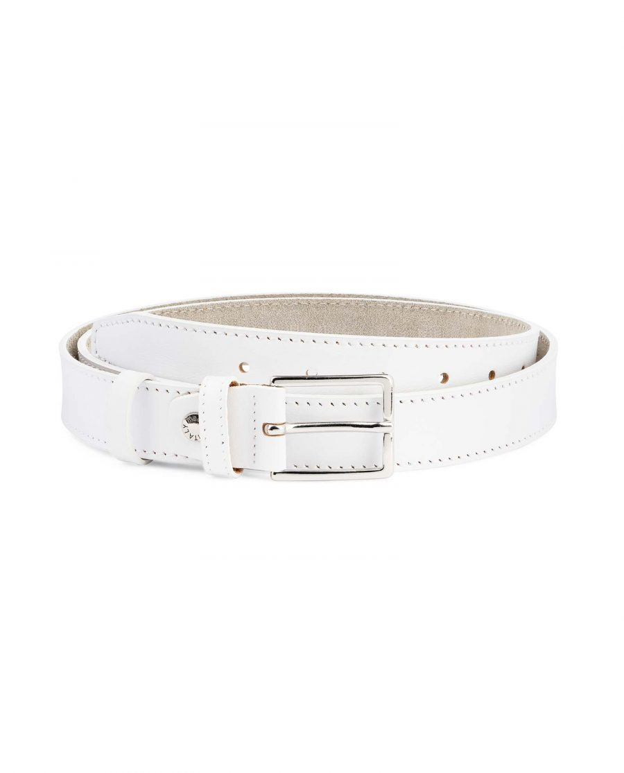 Mens-White-Leather-Belt-With-buckle-1-1-8-inch-Capo-Pelle