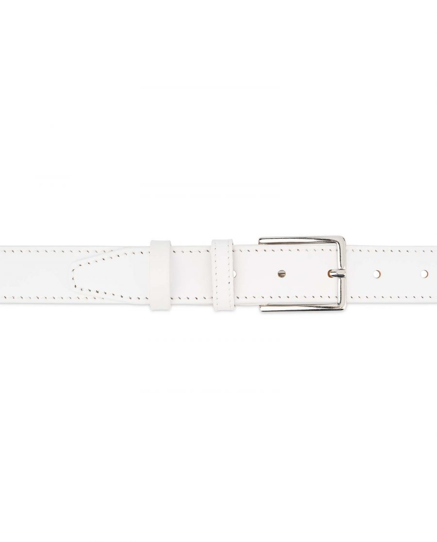 Mens-White-Leather-Belt-With-buckle-1-1-8-inch-For-jeans