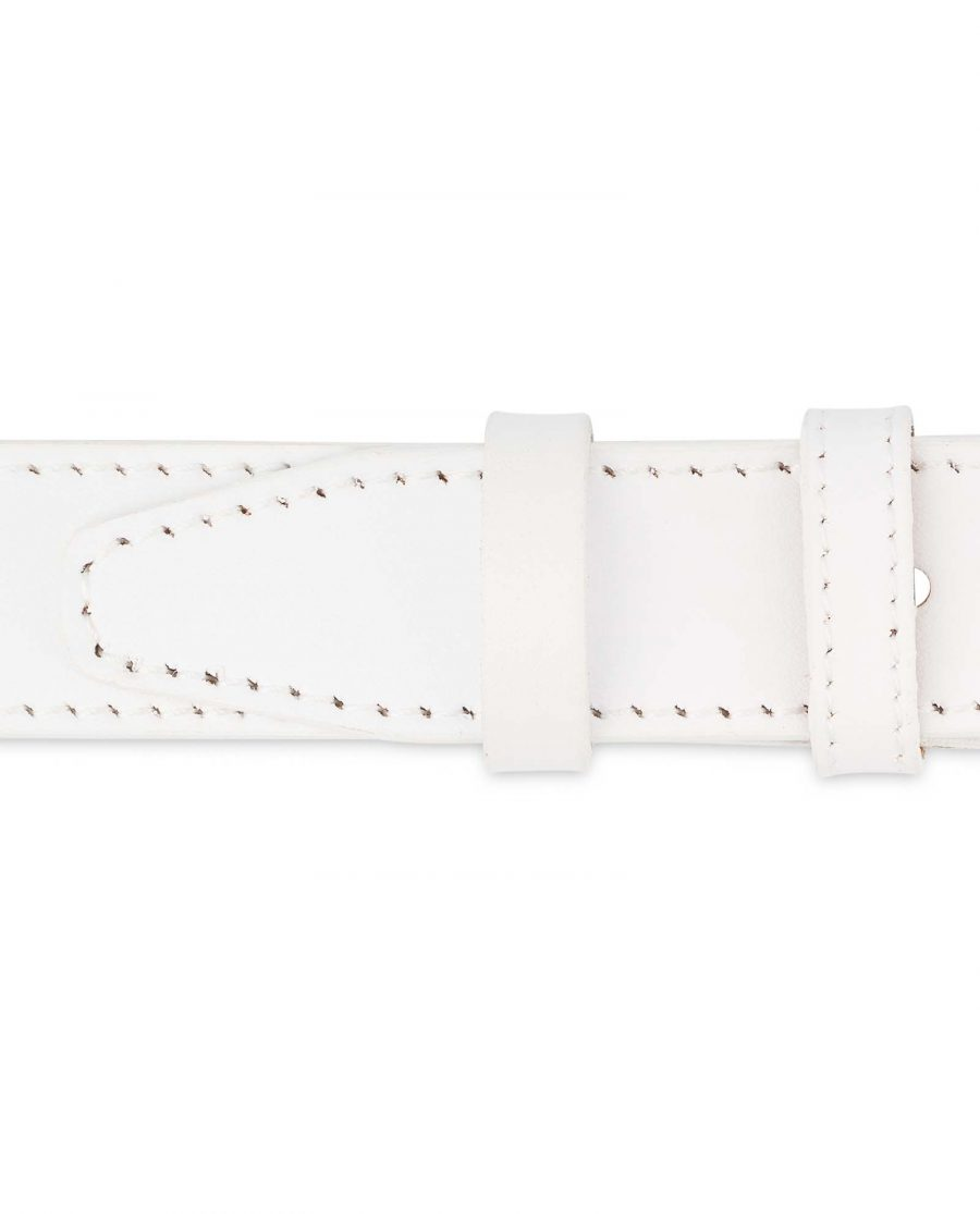 Mens-White-Leather-Belt-With-buckle-1-1-8-inch-Loops