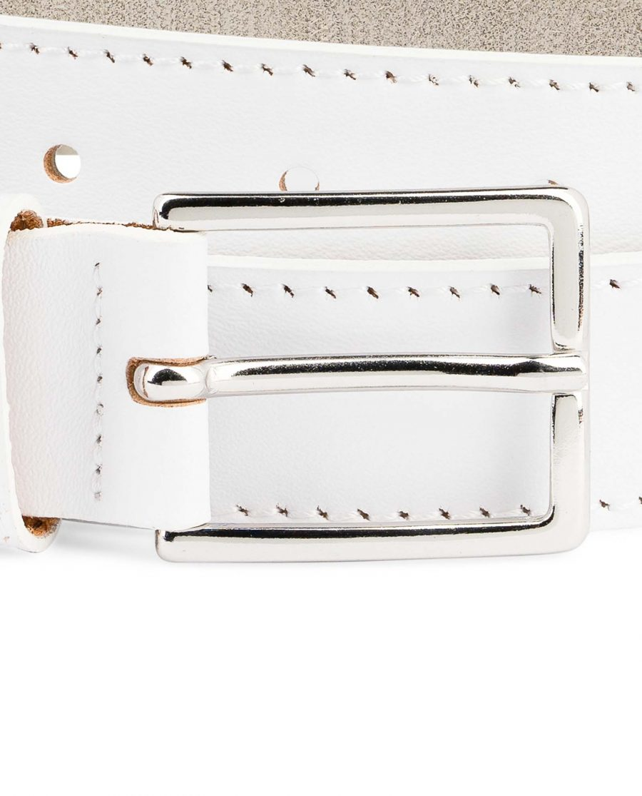 Mens-White-Leather-Belt-With-buckle-1-1-8-inch-Nickel