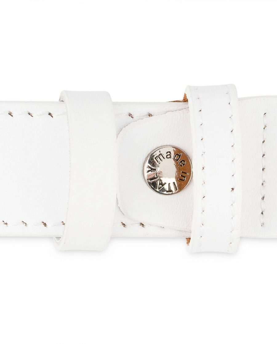 Mens-White-Leather-Belt-With-buckle-1-1-8-inch-Screw