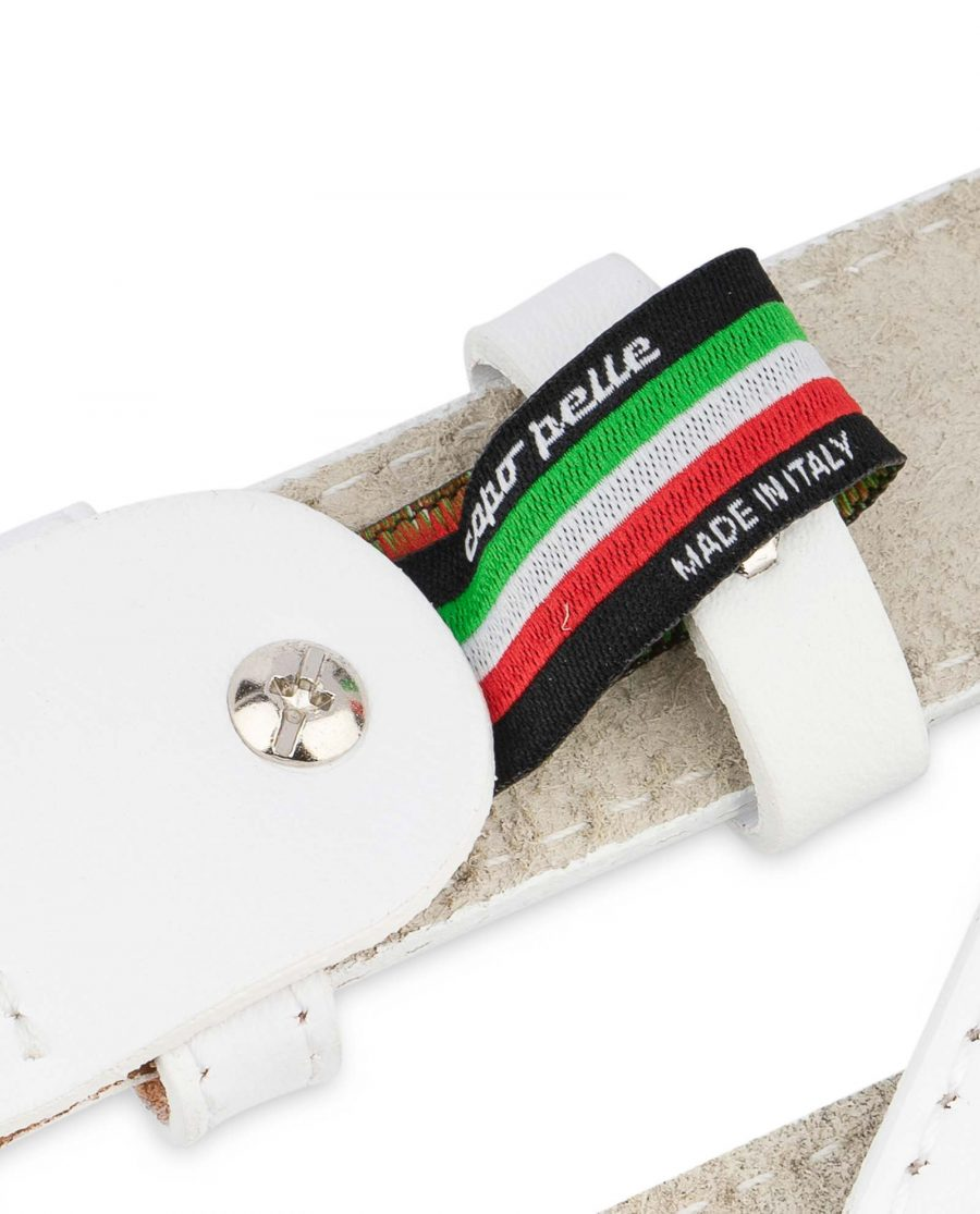 Mens-White-Leather-Belt-With-buckle-1-1-8-inch-Woven-label