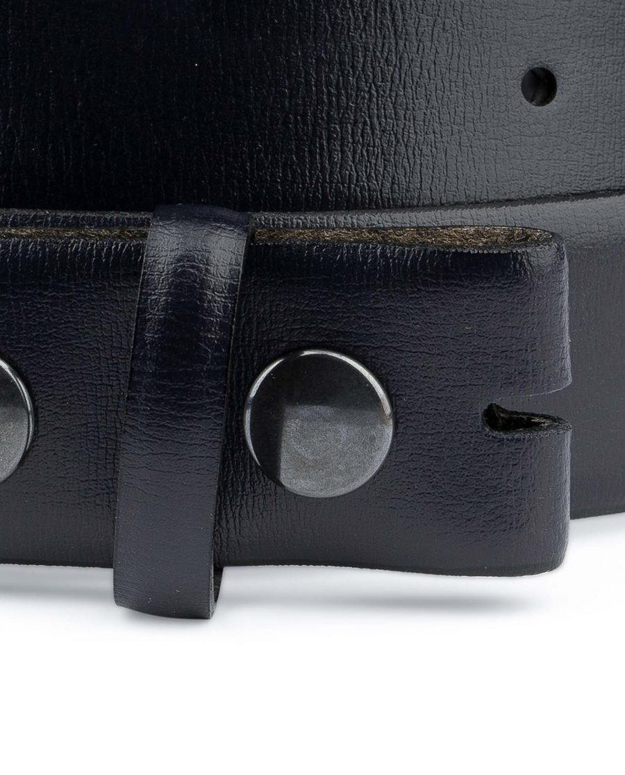 Navy-belt-With-no-buckle-Mens-blue-belts-Genuine-leather-Snap-on-YKK-Buttons-Almost-black