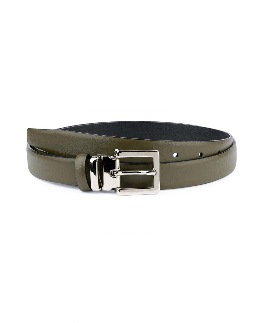 Olive-Green-Belt-For-Dresses-1-inch-Leather-Capo-Pelle