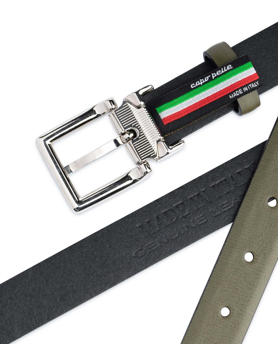 Olive-Green-Belt-For-Dresses-1-inch-Leather-Made-in-Italy
