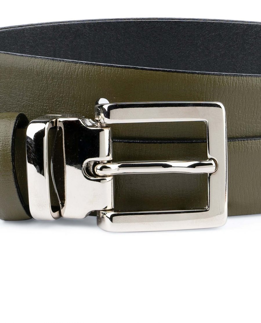 Olive-Green-Belt-For-Dresses-1-inch-Leather-Square-buckle