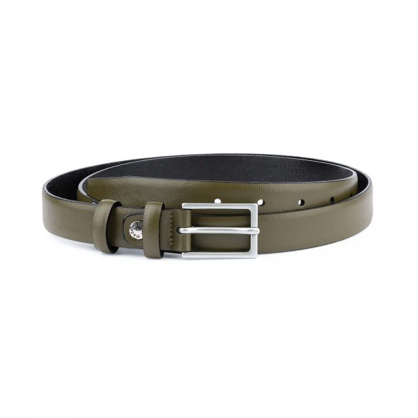 Olive-Green-Belt-Mens-Thin-1-inch-Capo-Pelle