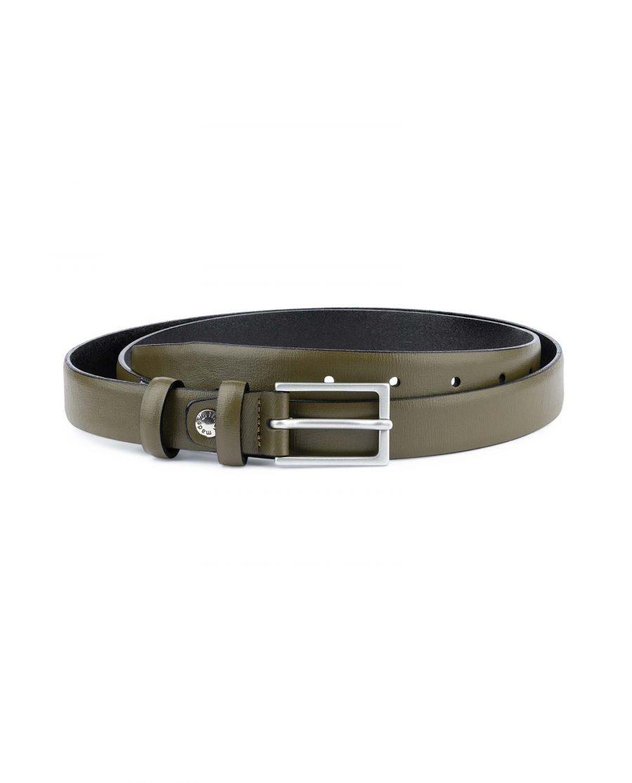 Olive-Green-Belt-Mens-Thin-1-inch-Capo-Pelle