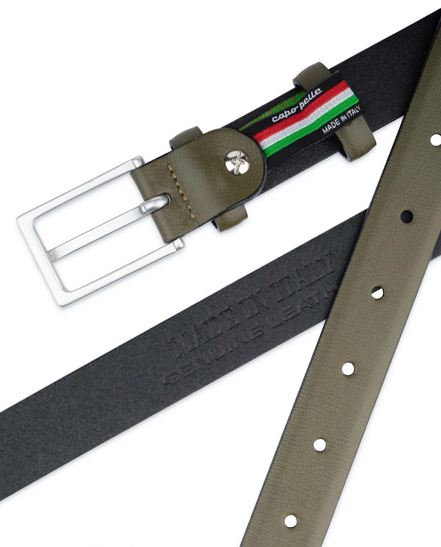 Olive-Green-Belt-Mens-Thin-1-inch-Genuine-leather