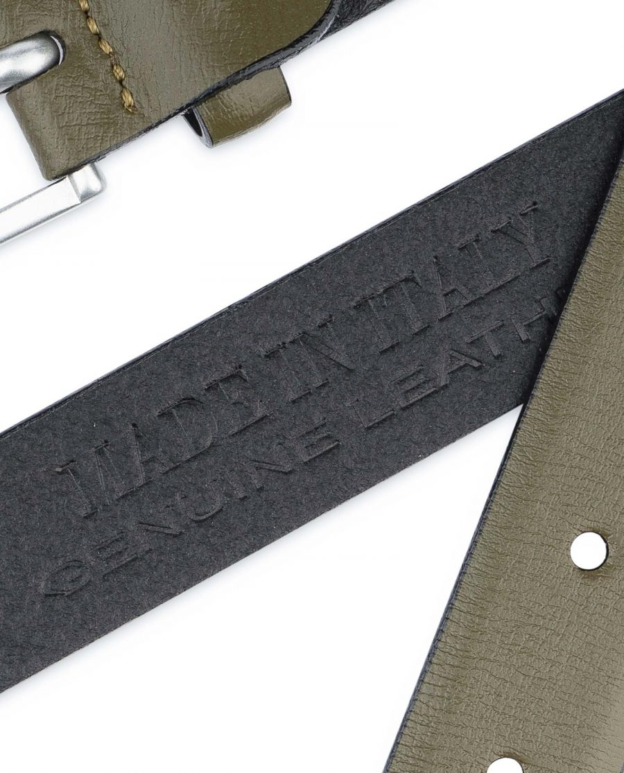 Olive-Green-Belt-Mens-Thin-1-inch-Made-in-Italy