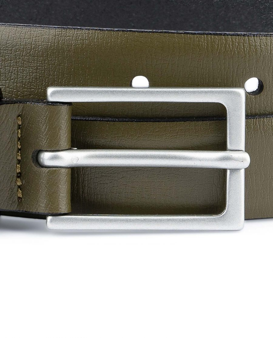 Olive-Green-Belt-Mens-Thin-1-inch-Silver-matte-buckle