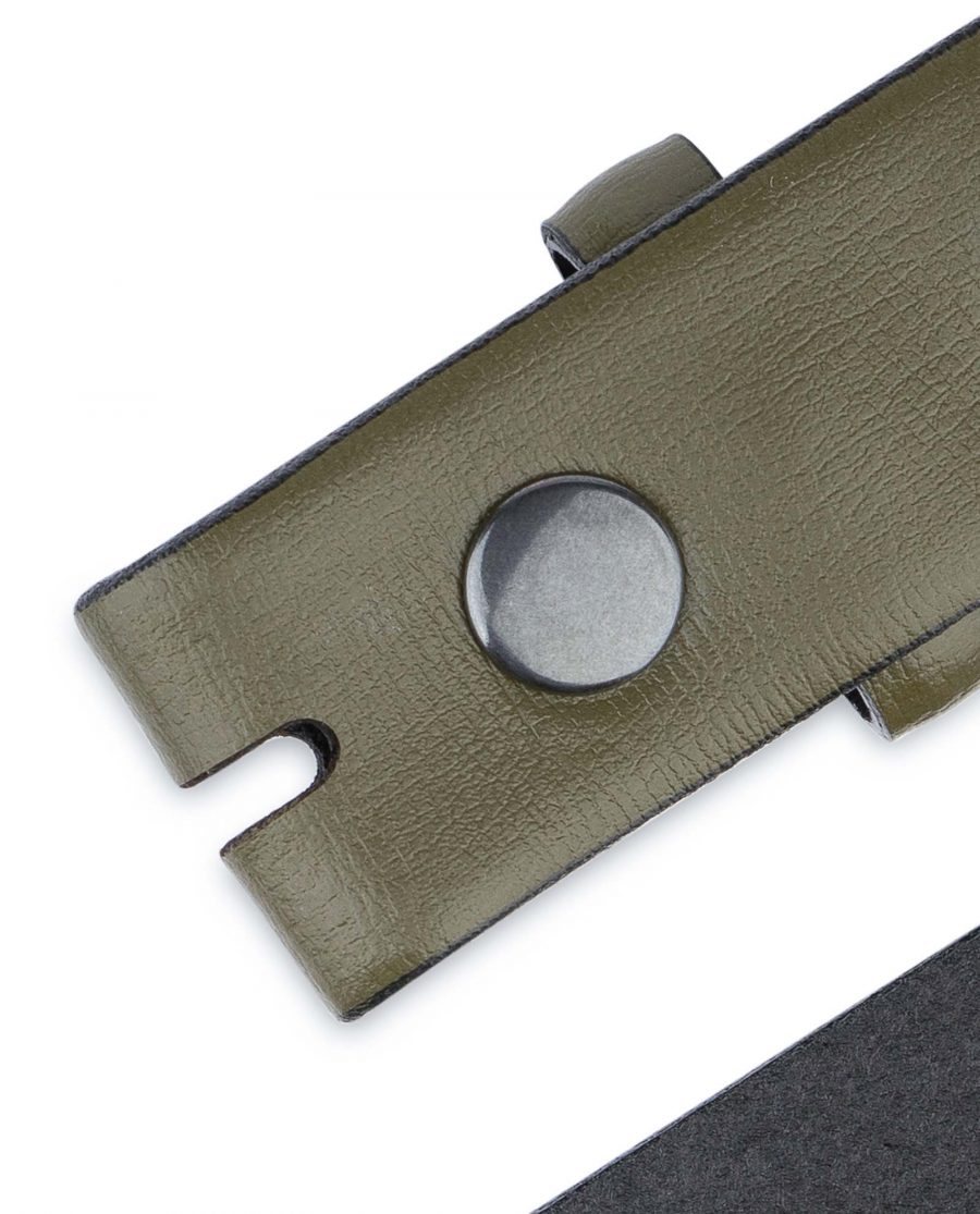Olive-Green-Belt-Without-Buckle-Snap-on-30-mm-Button