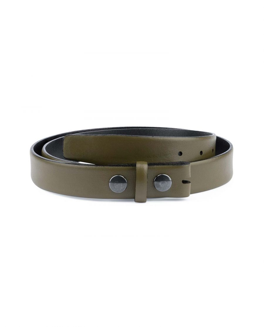 Olive-Green-Belt-Without-Buckle-Snap-on-30-mm-Capo-Pelle
