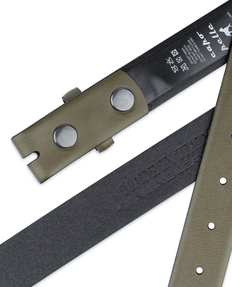 Olive-Green-Belt-Without-Buckle-Snap-on-30-mm-Genuine-leather