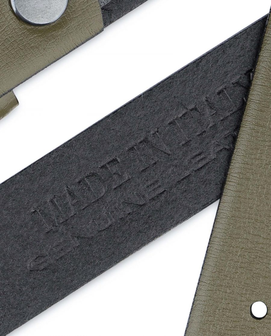 Olive-Green-Belt-Without-Buckle-Snap-on-30-mm-Made-in-Italy