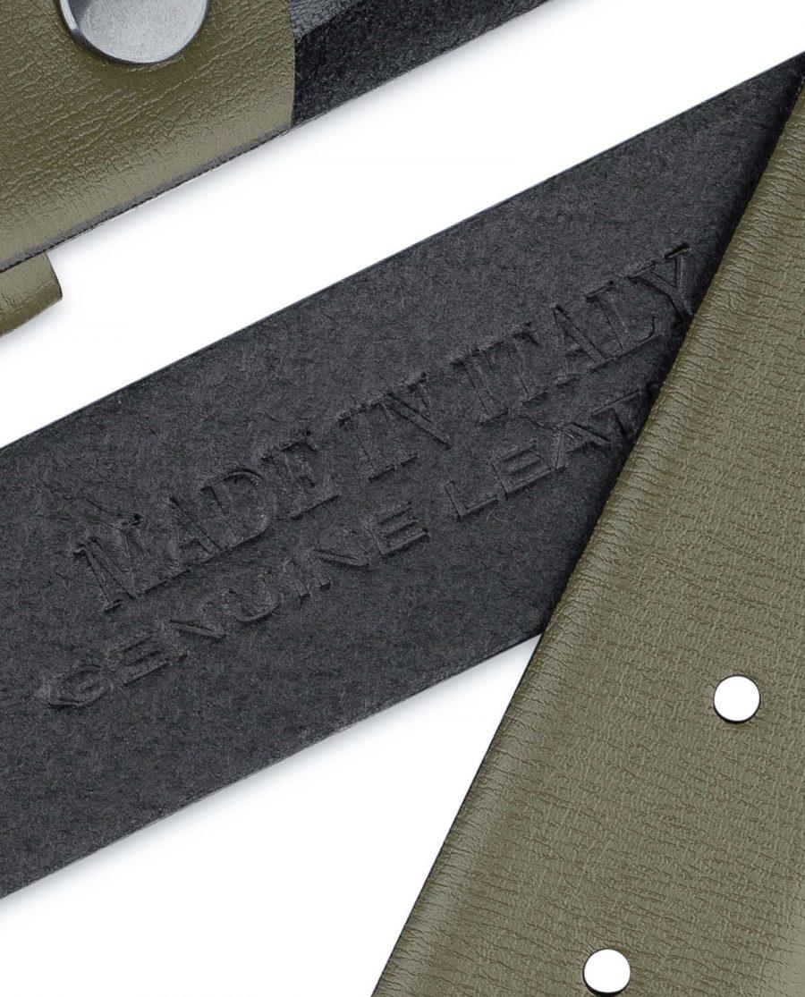 Olive-Green-Belt-no-Buckle-35-mm-Khaki-leather