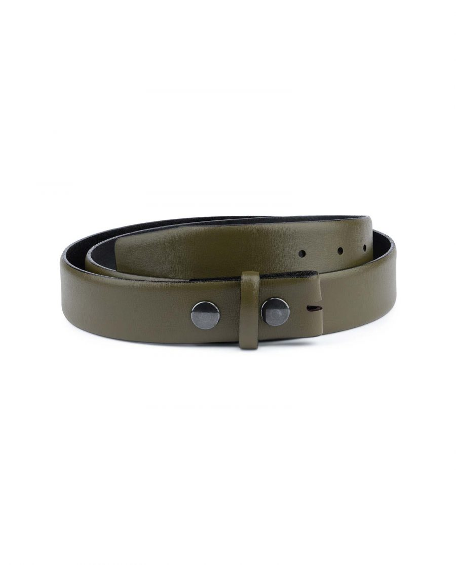 Olive-Green-Belt-no-Buckle-35-mmCapo-Pelle