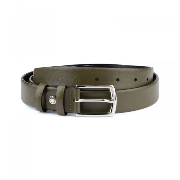 Olive-Green-Leather-Belt-Mens-1-1-8-inch-Capo-Pelle