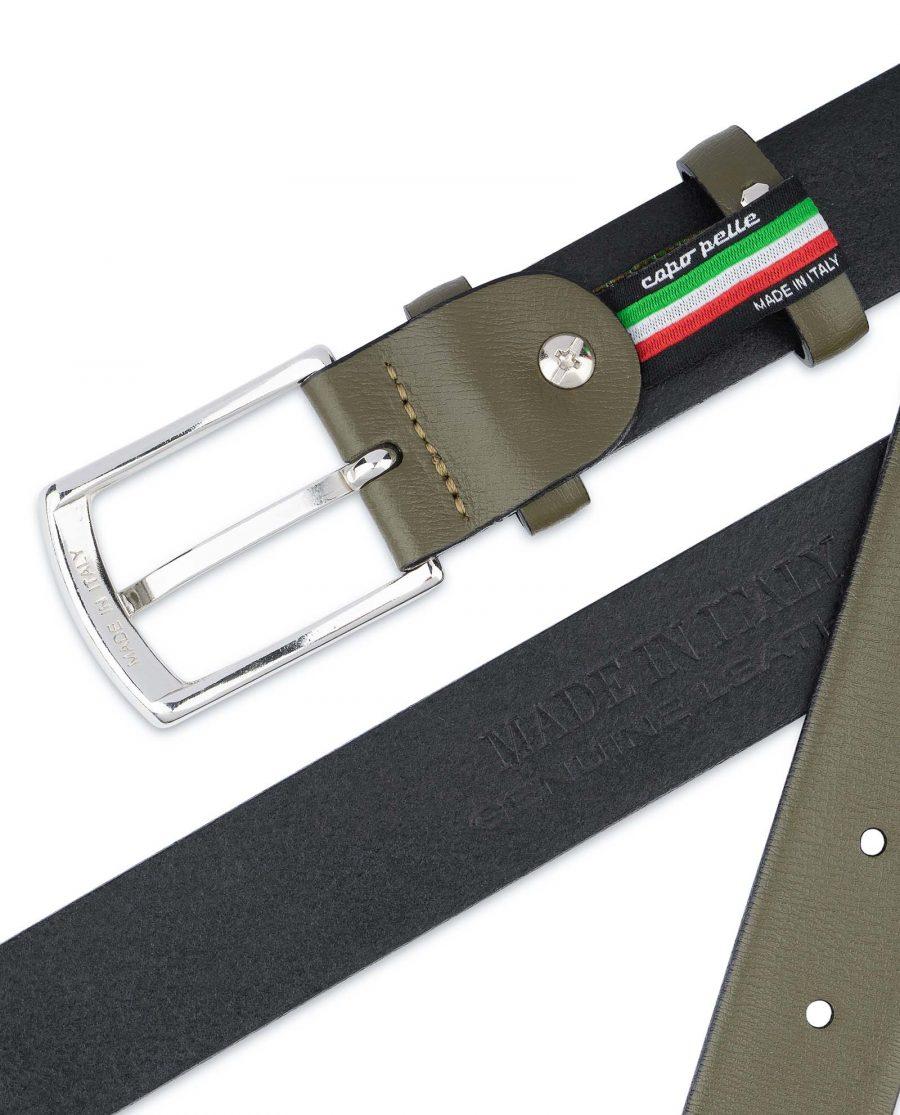 Olive-Green-Leather-Belt-Mens-1-1-8-inch-Heat-stamp