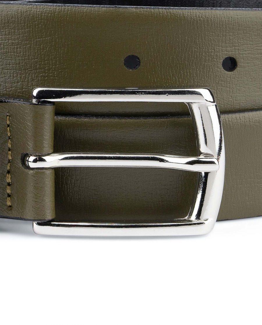 Olive-Green-Leather-Belt-Mens-1-1-8-inch-Nickel-buckle