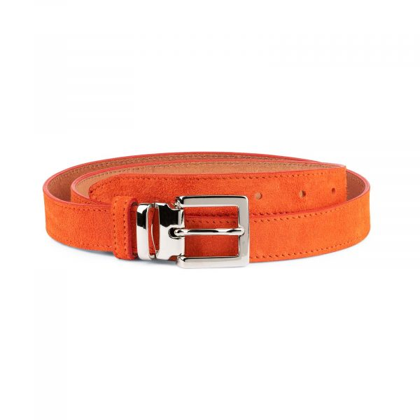 Orange-Womens-Belt-Suede-Leather-Capo-Pelle