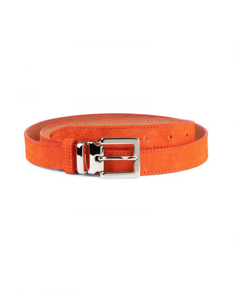 Orange-Womens-Belt-Suede-Leather-Capo-Pelle