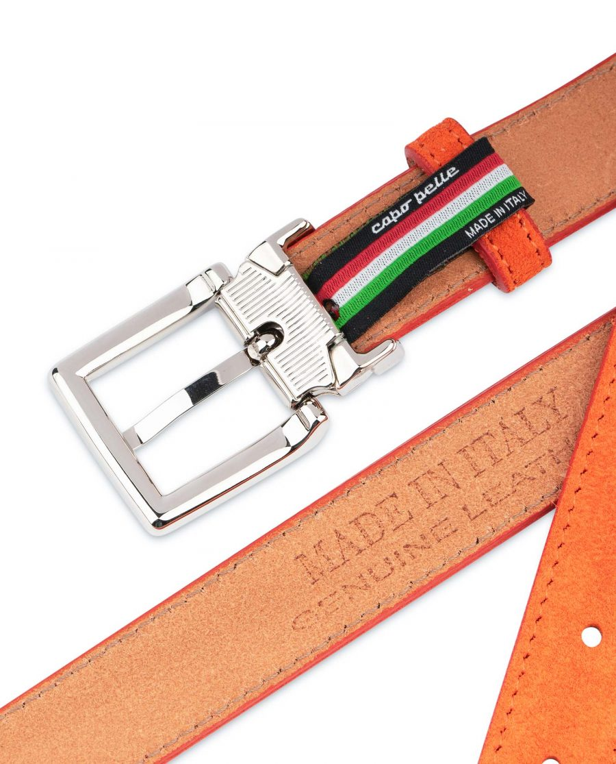 Orange-Womens-Belt-Suede-Leather-Made-in-Italy