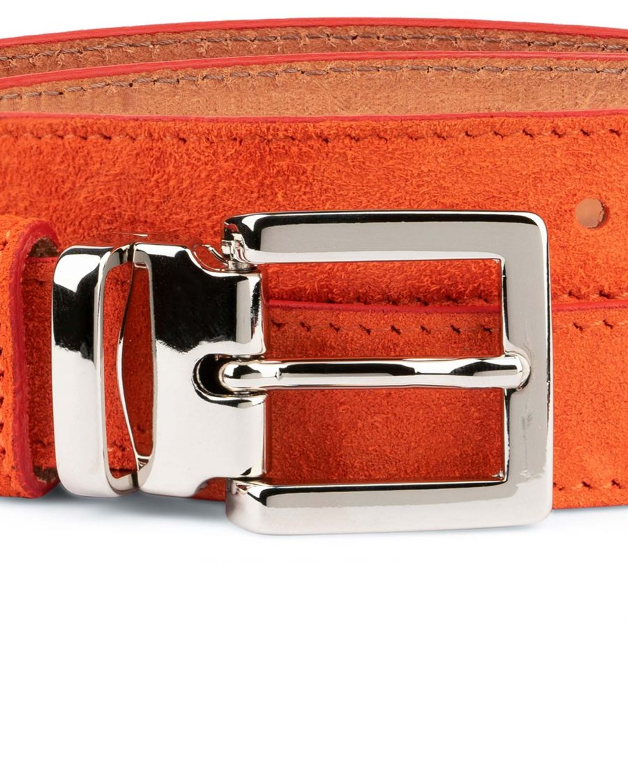 Orange-Womens-Belt-Suede-Leather-Square-buckle