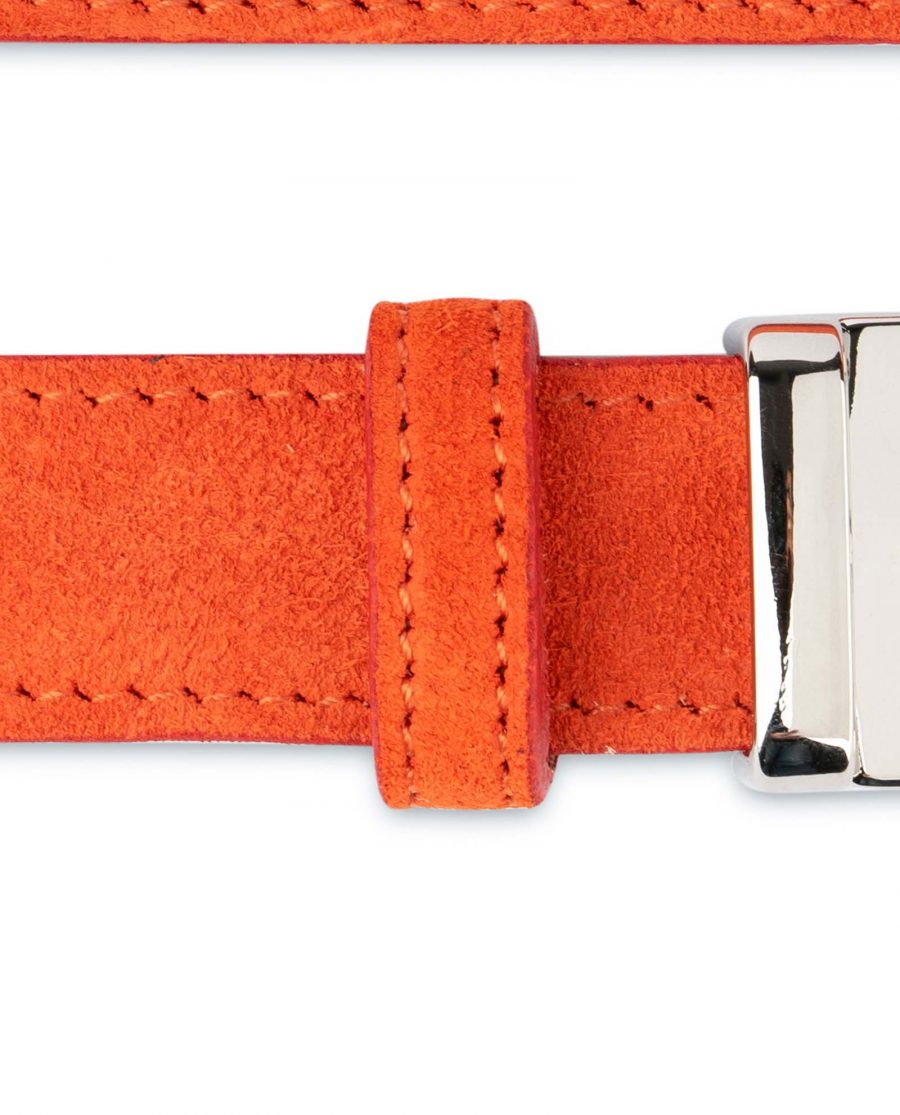 Orange-Womens-Belt-Suede-Leather-Stitched
