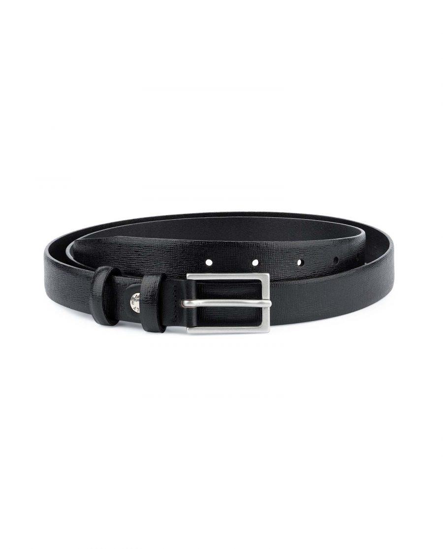 Saffiano-Mens-Black-Leather-Belt-Thin-1-inch-Capo-Pelle