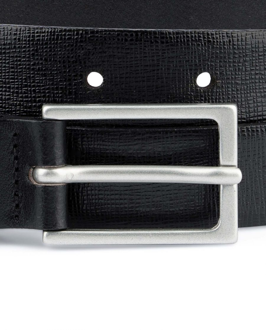 Saffiano-Mens-Black-Leather-Belt-Thin-1-inch-Silver-matte-buckle