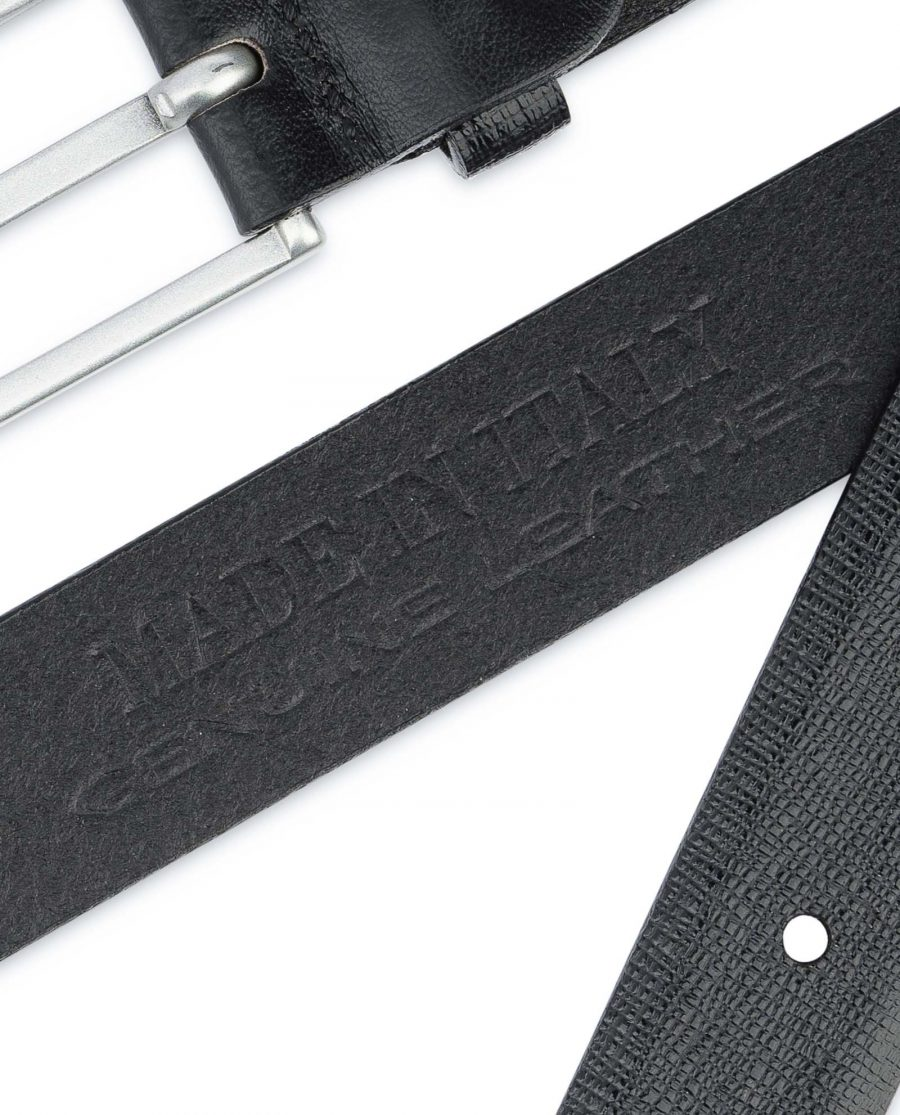Saffiano-Mens-Black-Leather-Belt-Thin-1-inch-Stamp
