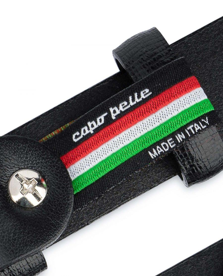Saffiano-Mens-Black-Leather-Belt-Thin-1-inch-Woven-label