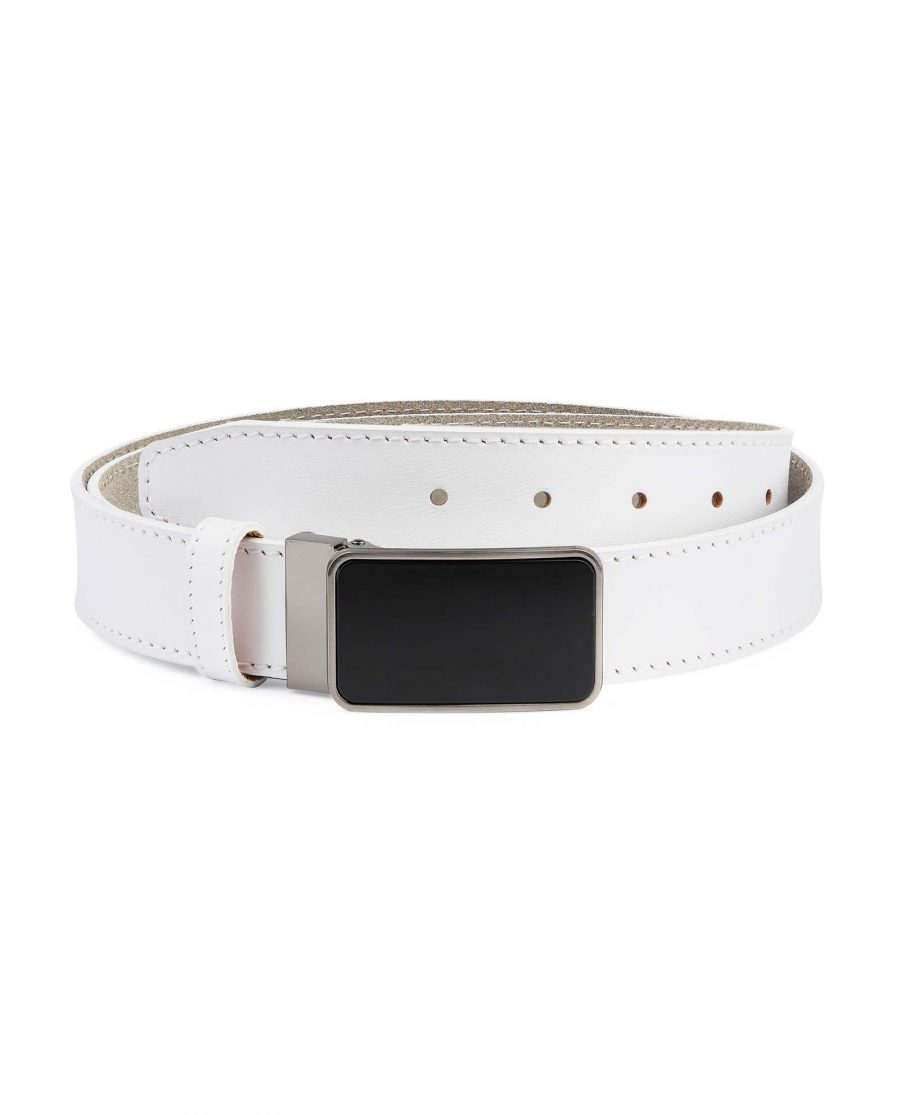 White-Leather-Belt-With-Black-Buckle-Capo-Pelle