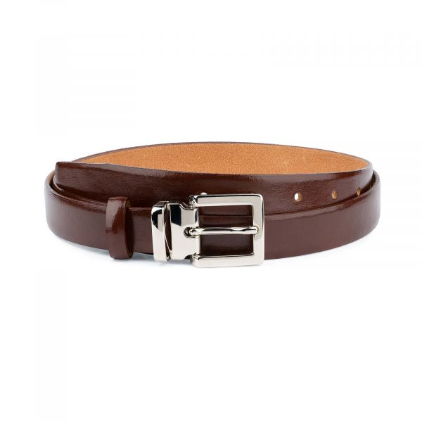 Womens-Brown-Leather-Belt-Thin-1-inch-Capo-Pelle