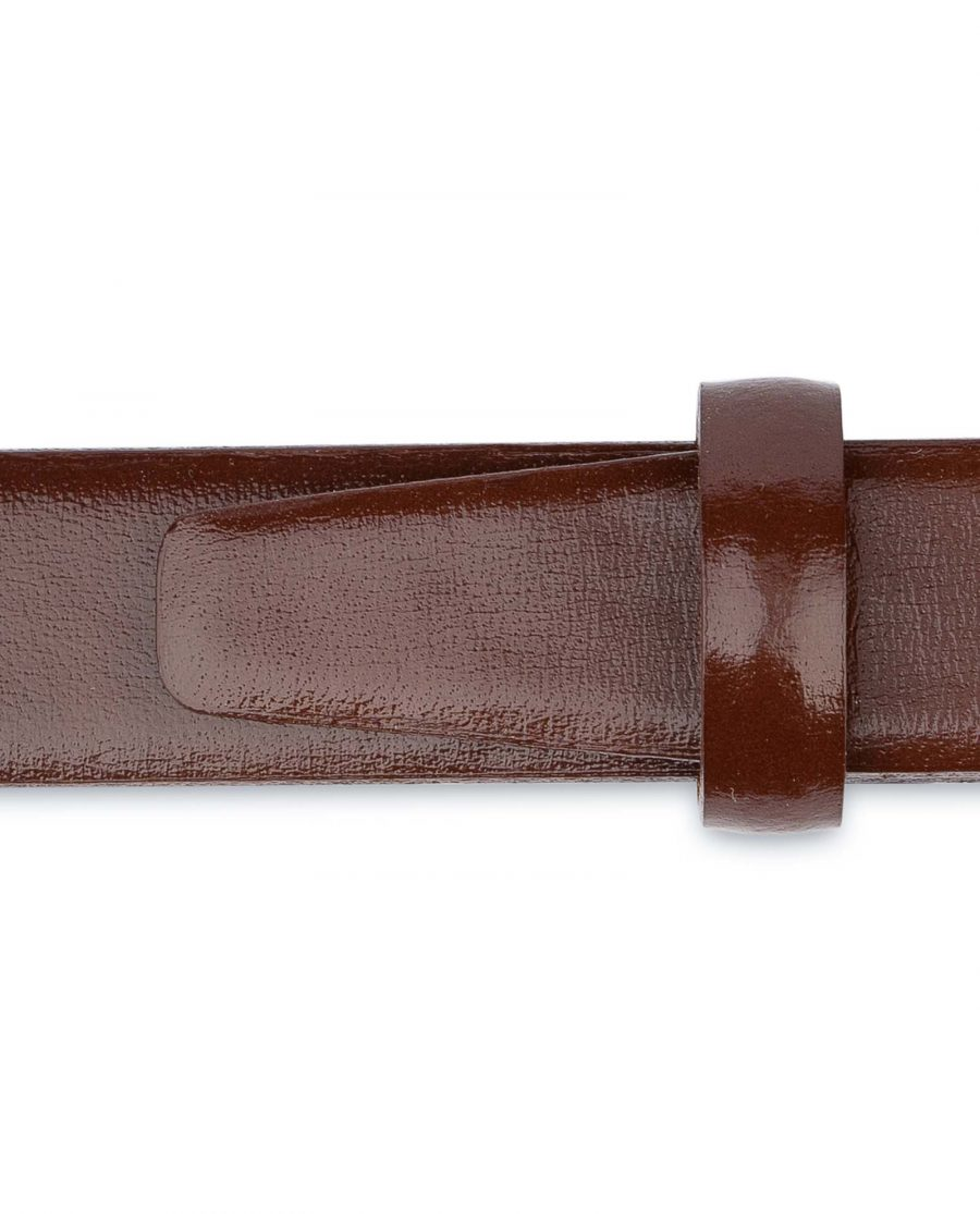Womens-Brown-Leather-Belt-Thin-1-inch-Dress