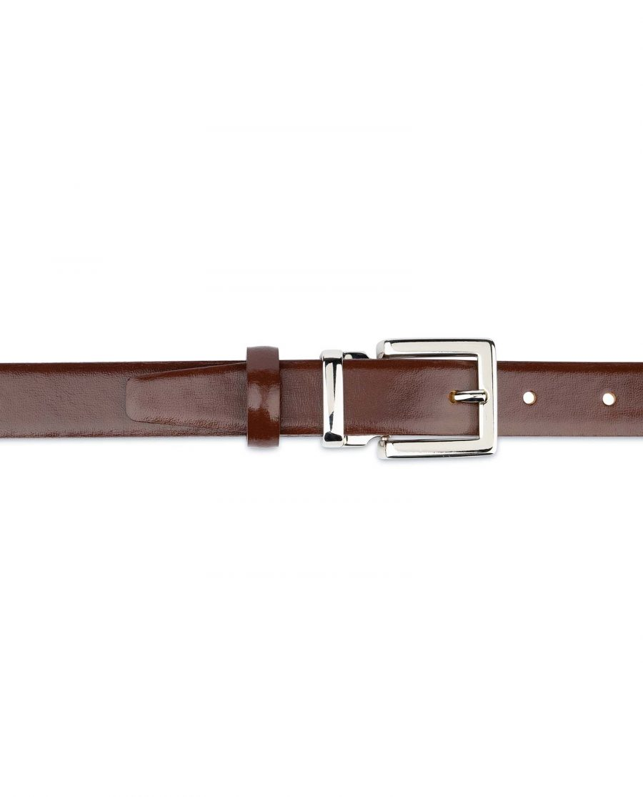 Womens-Brown-Leather-Belt-Thin-1-inch-For-dresses
