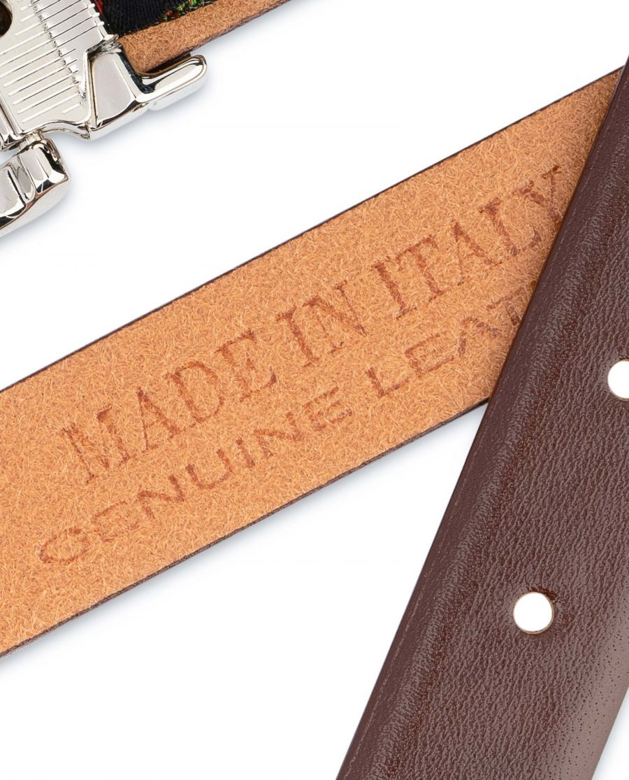 Womens-Brown-Leather-Belt-Thin-1-inch-Genuine-calfskin