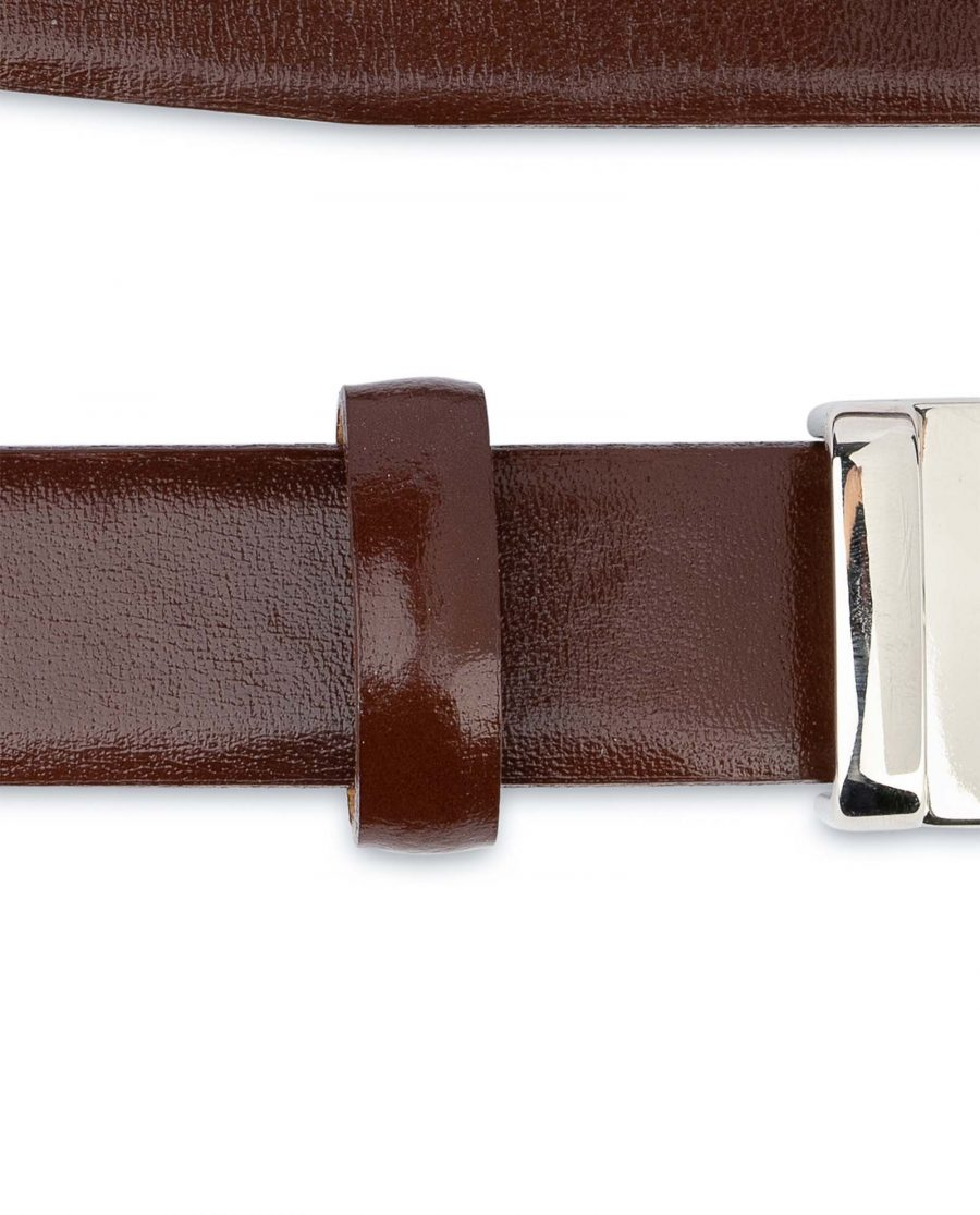 Womens-Brown-Leather-Belt-Thin-1-inch-Loops