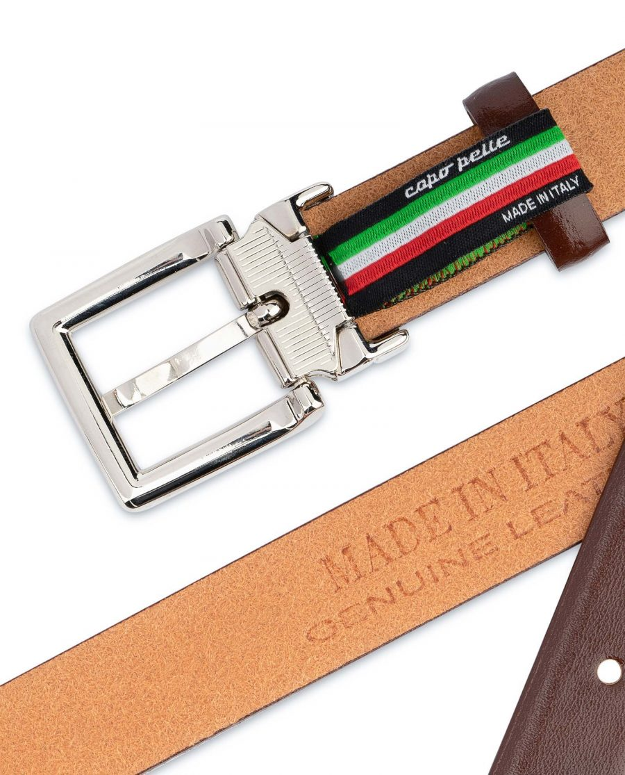 Womens-Brown-Leather-Belt-Thin-1-inch-Made-in-Italy