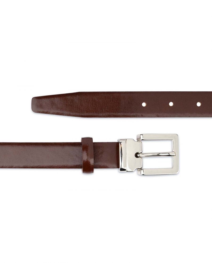 Womens-Brown-Leather-Belt-Thin-1-inch-Smooth