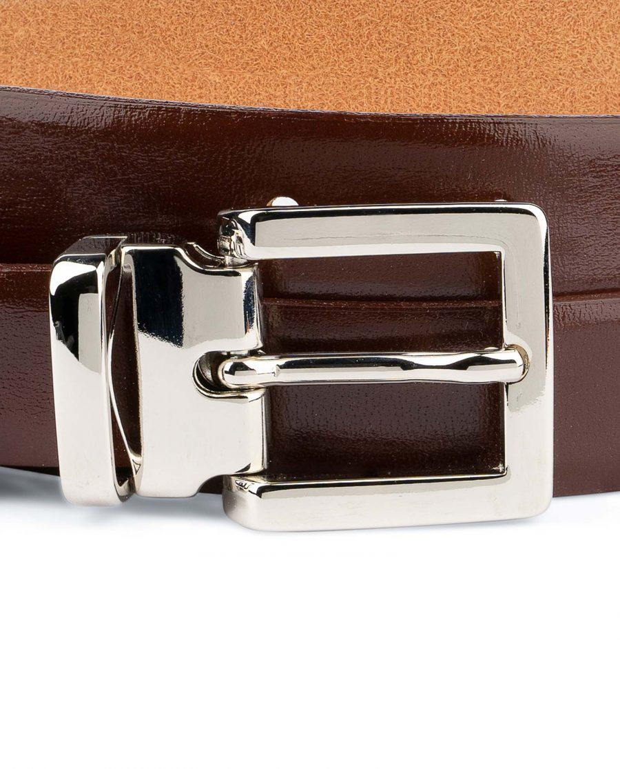 Womens-Brown-Leather-Belt-Thin-1-inch-Square-buckle
