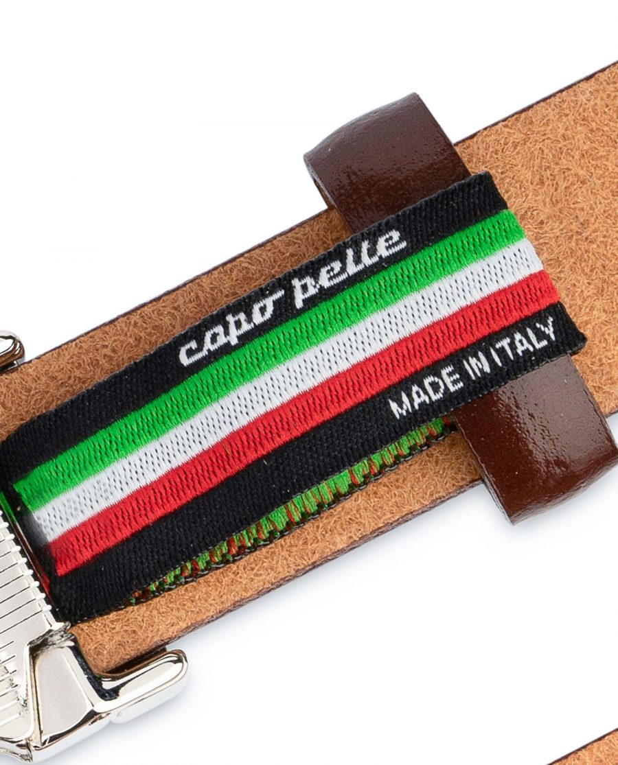Womens-Brown-Leather-Belt-Thin-1-inch-Woven-tag