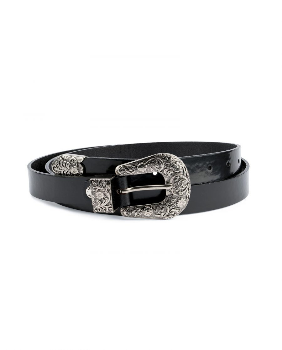 Black Patent Leather Belt With Western Buckle Capo Pelle