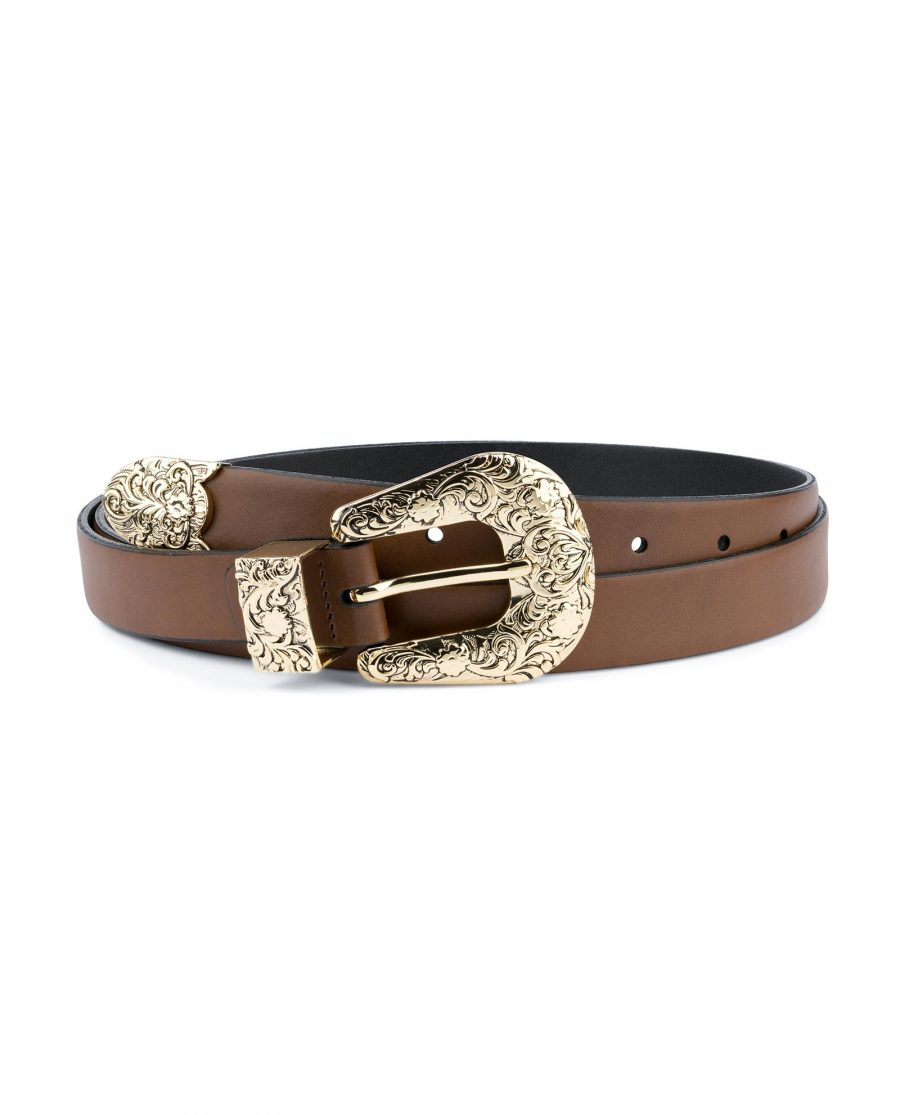 Brown Western Belt For Women With Gold Buckle Capo Pelle