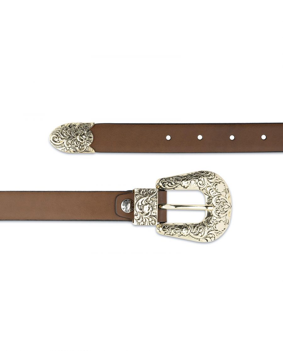 Brown Western Belt For Women With Gold Buckle Genuine Leather