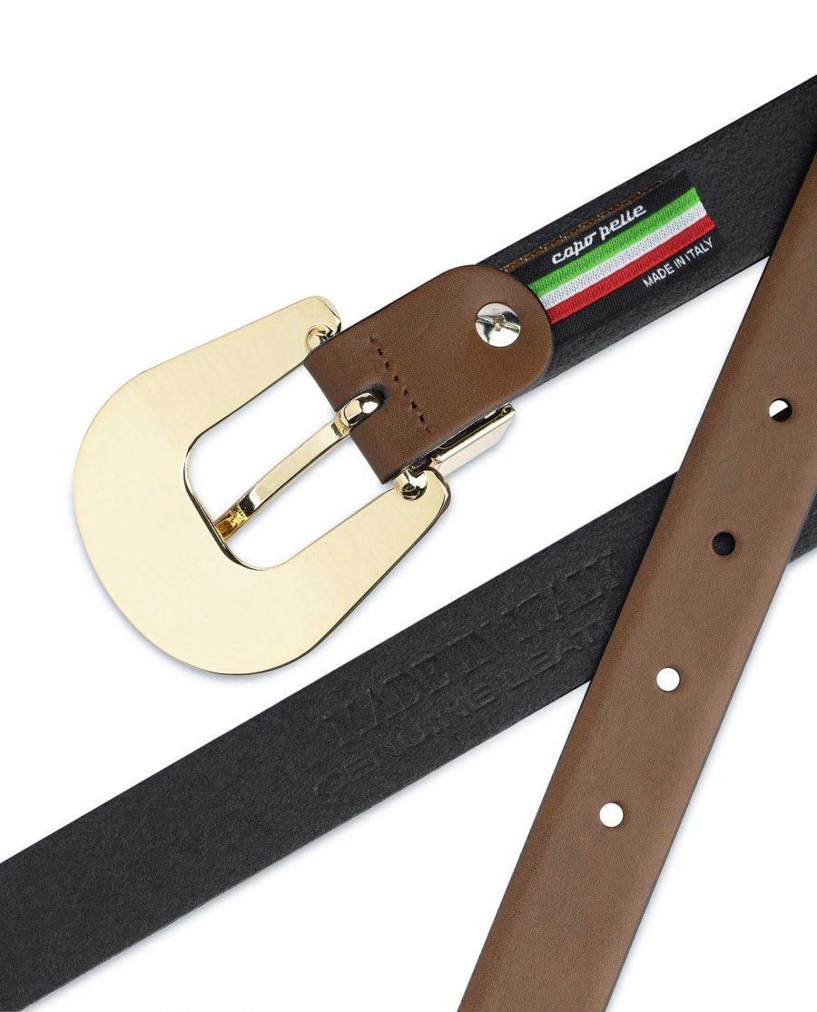 Brown Western Belt For Women With Gold Buckle Made in Italy