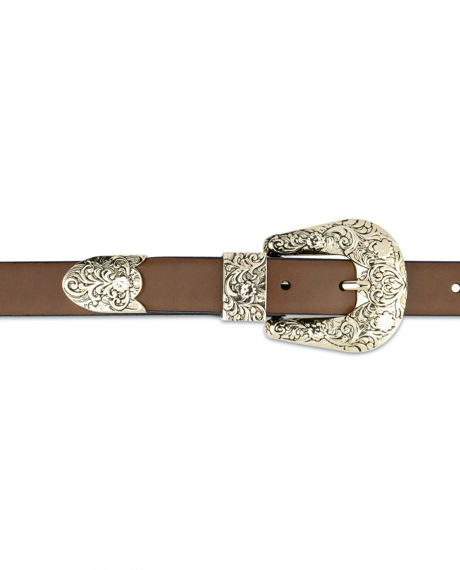 Brown Western Belt For Women With Gold Buckle On dress